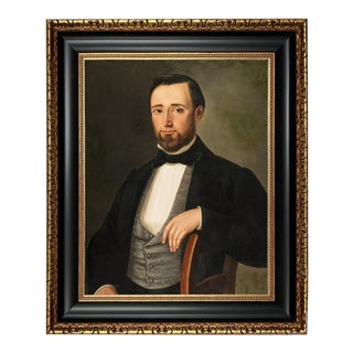 Early Victorian Gentleman Framed Oil Painting Print on Canvas, Black and Antiqued Gold Frame For Sale