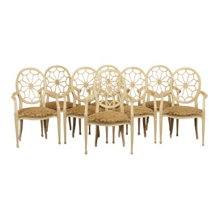 Regency Style Quality Set 8 Spider Back Dining Chairs For Sale