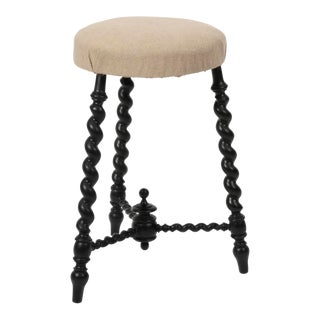 Early 20th Century Antique Barley Twist Legged Stool For Sale
