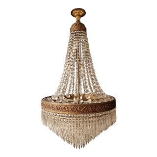 Empire Set 2x 'Sac a Perle' Pair of Crystal Chandelier Lustre Brass Ceiling Lamp Basket For Sale