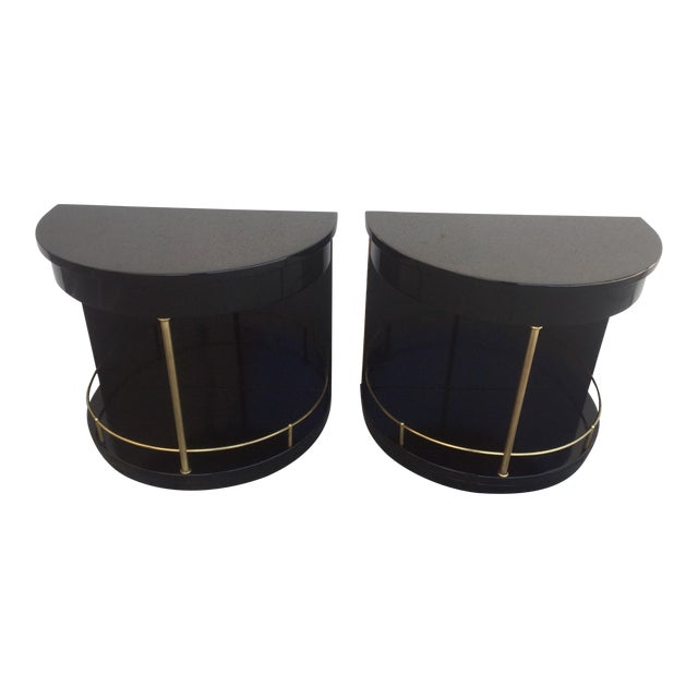 Henredon Black Lacquered Side Tables - A Pair For Sale