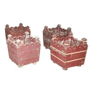 Square Wooden French Jardinières - Set of 4 For Sale