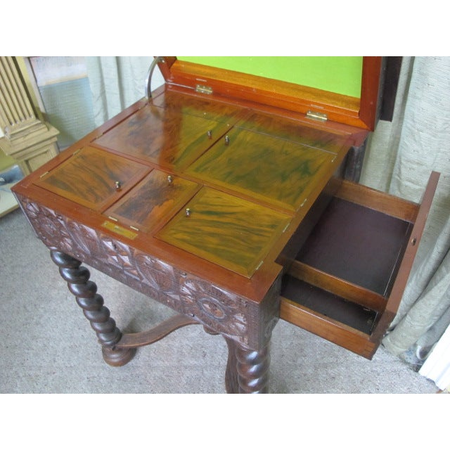 Green 19th Century Swedish Scandinavian Gothic Sewing Table For Sale - Image 8 of 9