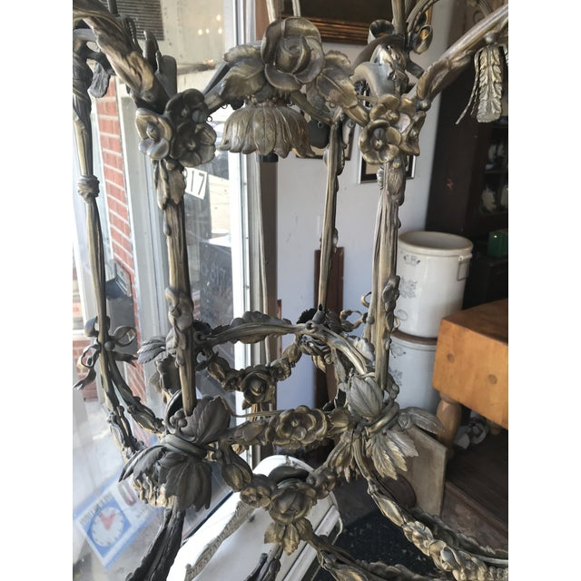Metal Floral Appliqué Antique French Brass Chandelier For Sale - Image 7 of 13