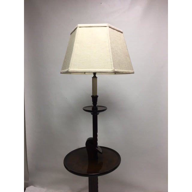 Traditional Vintage Ratchet Arm Wood Floor Lamp With Table For Sale - Image 3 of 9