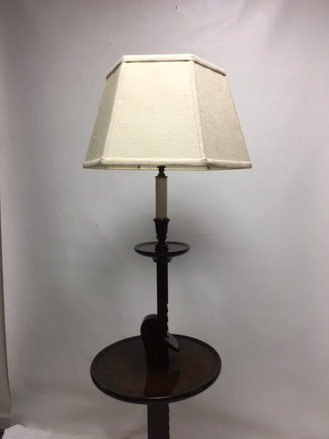 Traditional Vintage Ratchet Arm Wood Floor Lamp With Table For Sale   Image  3 Of 9
