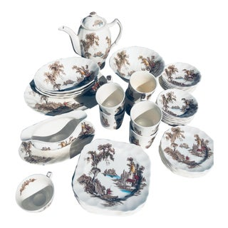 The Old Mill Brown Multicolor by Johnson Brothers, England - 52 Pieces For Sale