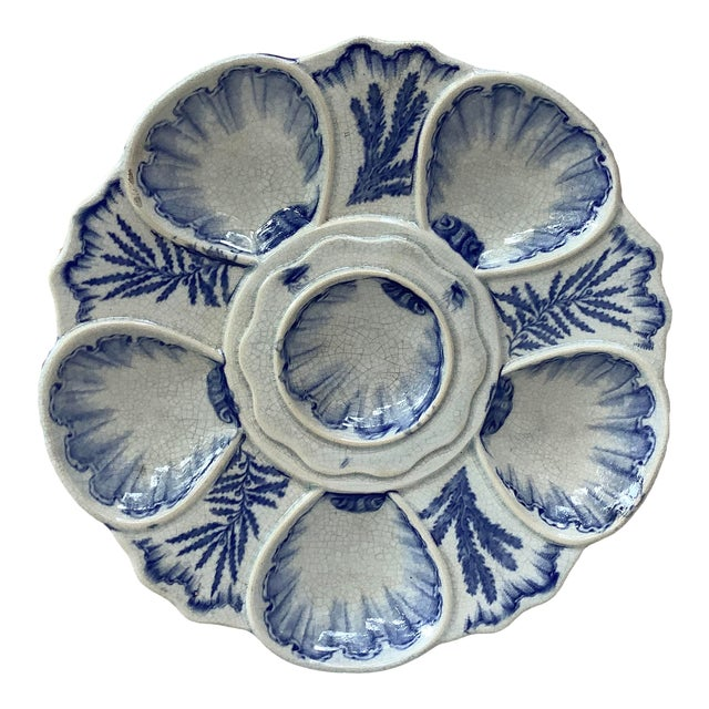 19th Century Bordeaux Blue and White Seaweeds Oyster Plate For Sale