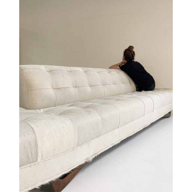 White Adrian Pearsall Sofa in Brazilian Cowhide For Sale - Image 8 of 13