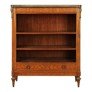 1920s Vintage Marble Top Bronze Mounted Bookcase For Sale