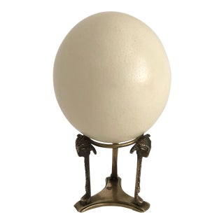 Natural Ostrich Egg on Brass Stand For Sale