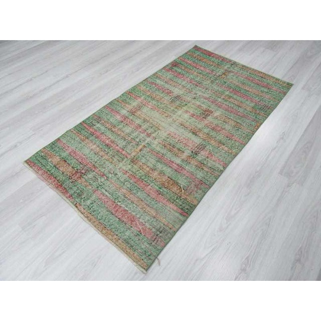 Distressed Vintage Turkish Art Deco Style Green Rug - 3′5″ × 6′5″ - Image 5 of 6