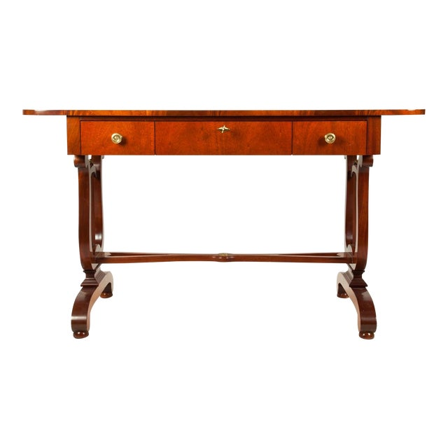 Vintage Mahogany Burlwood Writing Desk or Console Table For Sale