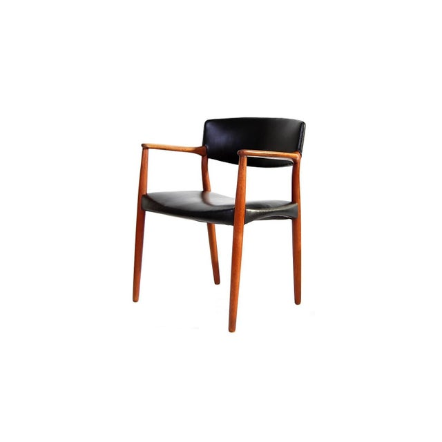 Armchair in Teak and Black Leather by Ejnar Larsen and Aksel Bender Madsen For Sale - Image 9 of 9