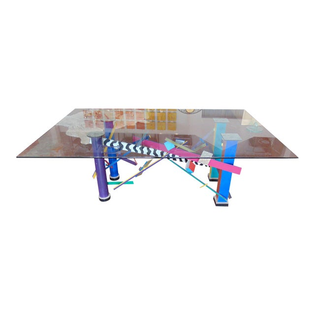 Memphis Style Abstract Geometric Table For Sale