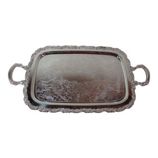 1960s Oneida Silver Plate Butlers Handled Serving Tray For Sale