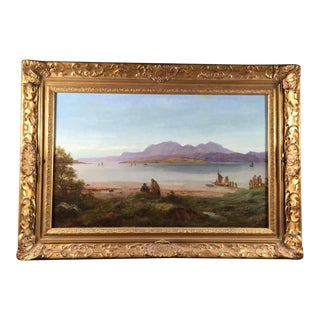 English Oil Painting Landscape by John Galloway, 1858 For Sale