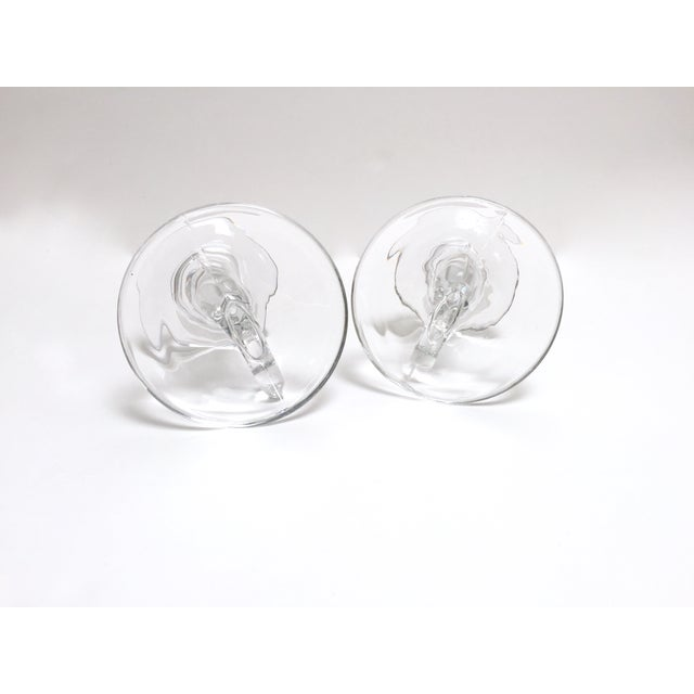 Vintage Glass Horn Taper Candle Holders - A Pair For Sale In Austin - Image 6 of 9