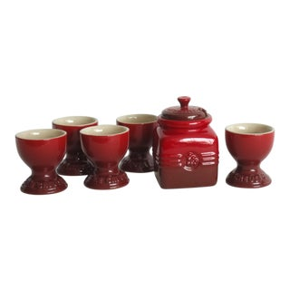 Le Crueset Cherry Honey Pot & 5 Egg Cups For Sale