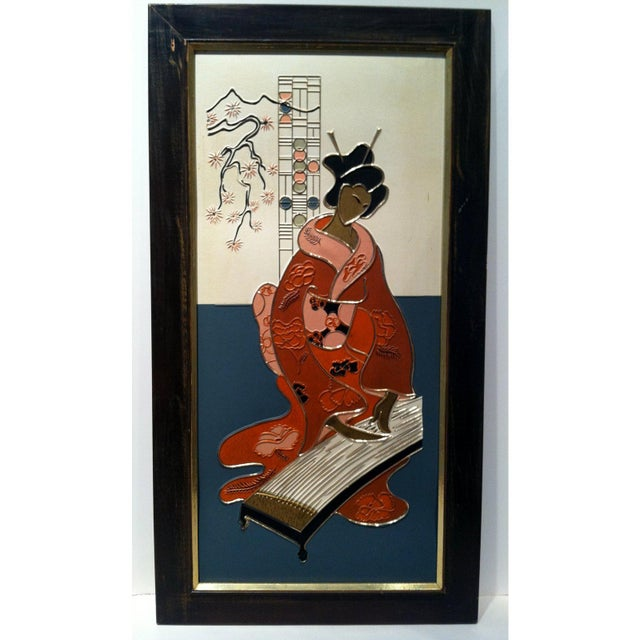 1960s Mid Century Japanese Geisha Art Panels, Pair For Sale - Image 5 of 8
