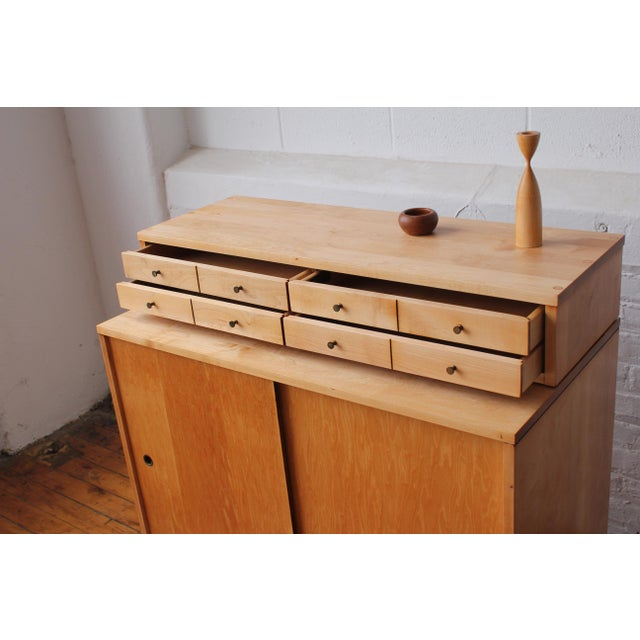Maple Restored 1950s Mid-Century Modern Paul McCobb Planner Group Mini Credenza Cabinet For Sale - Image 7 of 13