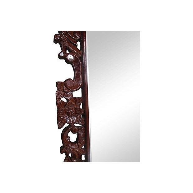 """Grand 53"""" Rococo Carved Crest Lacquer Mirror For Sale - Image 4 of 6"""