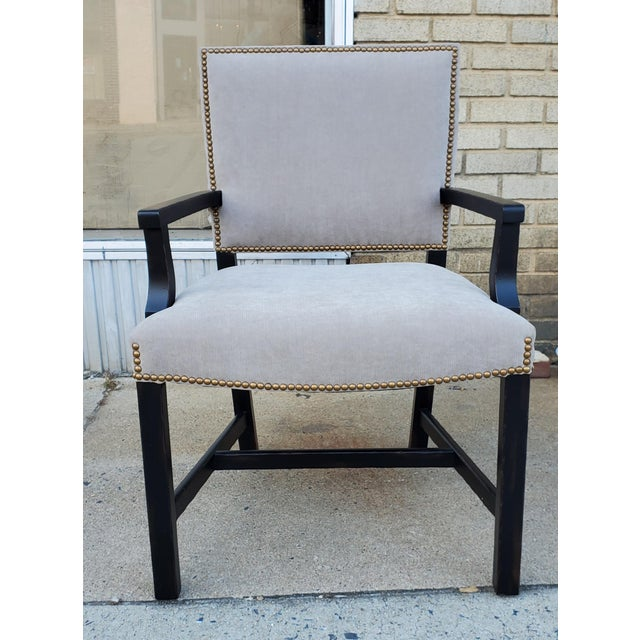 Henredon Furniture Mark D. Sikes Sheffield Upholstered Arm Chair Sale includes one arm chair as pictured. The Sheffield...