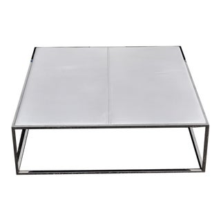1970s Mid Century Modern Chrome Square Coffee and Side Tables - Set of 3 For Sale