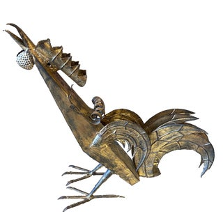 1960s Brutalist Style Steel Rooster Sculpture For Sale