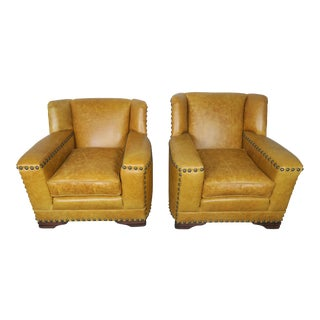 Pair of Leather Deco Club Chairs C. 1930 For Sale