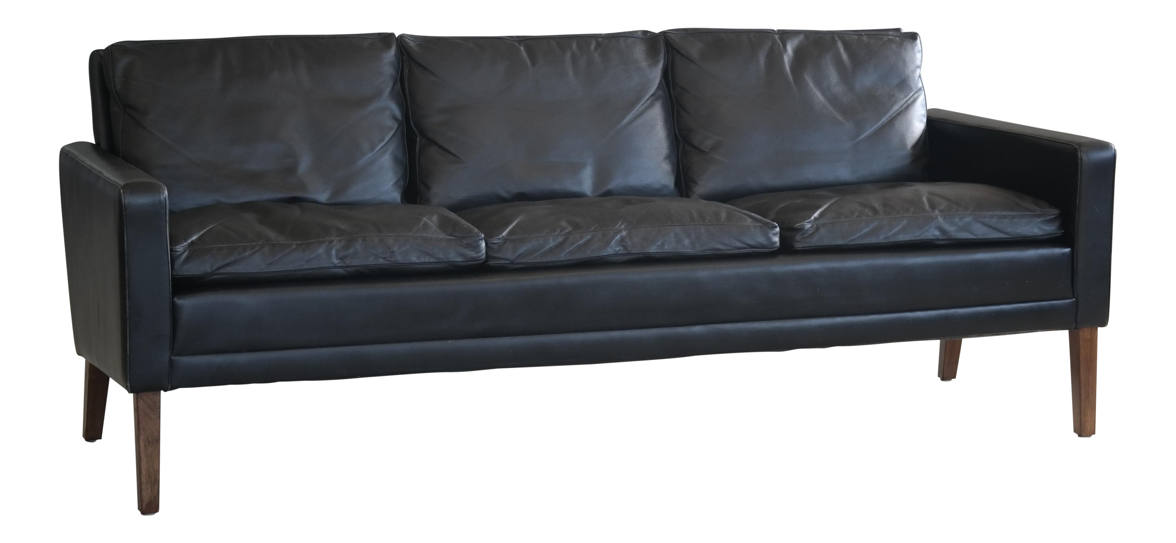 1960s Georg Thams Style Danish Black Leather 3 Seater Sofa Chairish