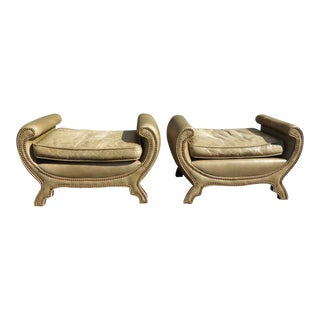 Vintage Century Duke of York Rustic Green Leather Benches - a Pair W Decorative Nails For Sale