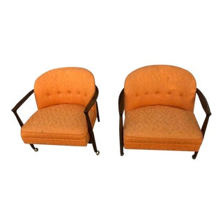 Ib Kofod Larsen for Selig Mid Century Barrel-Back Chairs - A Pair For Sale