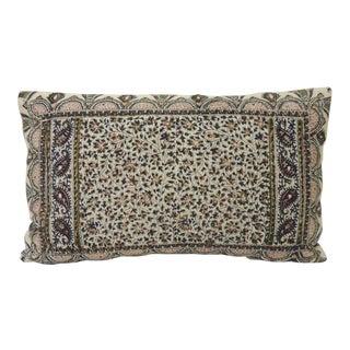 Vintage Hand-Blocked Kalamkari Lumbar Decorative Throw Pillow For Sale
