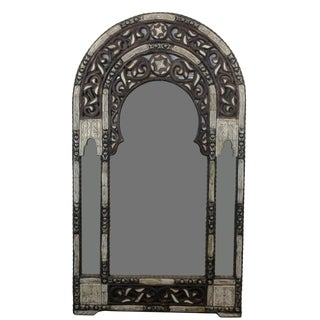Moroccan White and Black Rounded Top Mirror W/ Bone For Sale