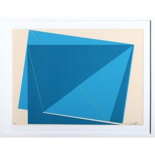 Cris Cristofaro Blue Rectangles Silkscreen Print For Sale