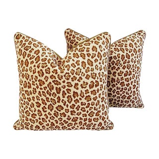 "Hollywood Glam Safari Leopard Velvet Feather/Down Pillows 24"" Square - a Pair For Sale"