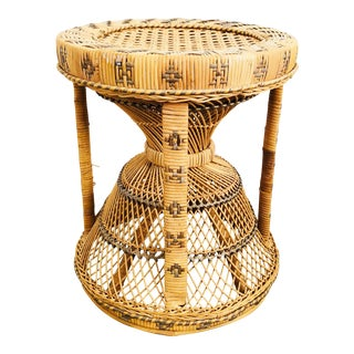 Vintage Wicker Hourglass Stool or Plant Stand For Sale