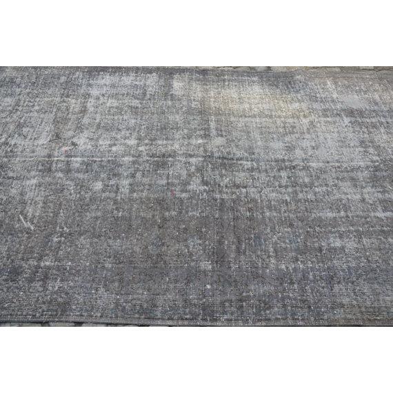 Turkish Gray Overdyed Antique Handwoven Oushak Carpet - 5′4″ × 8′8″ - Image 5 of 5