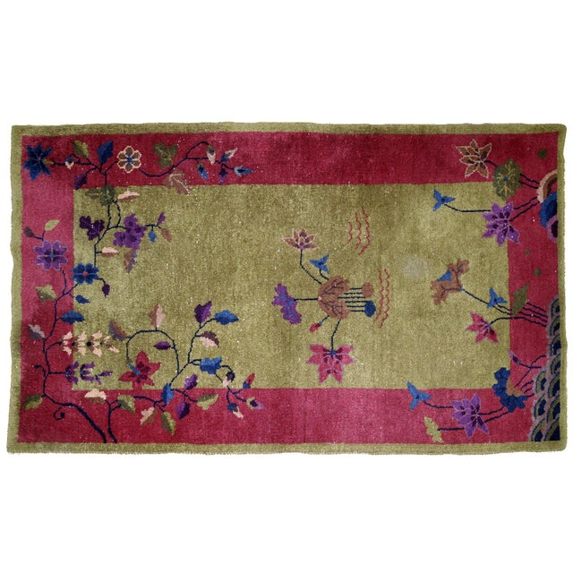 1920s, Handmade Antique Art Deco Chinese Rug 3.1' X 4.10' For Sale - Image 10 of 11
