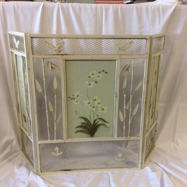 Vintage Shabby Chic Metal Hand Painted Fireplace Screen - Image 6 of 10