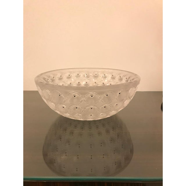 """Glass Signed Lalique """"Nemours"""" Crystal Glass Bowl For Sale - Image 7 of 11"""