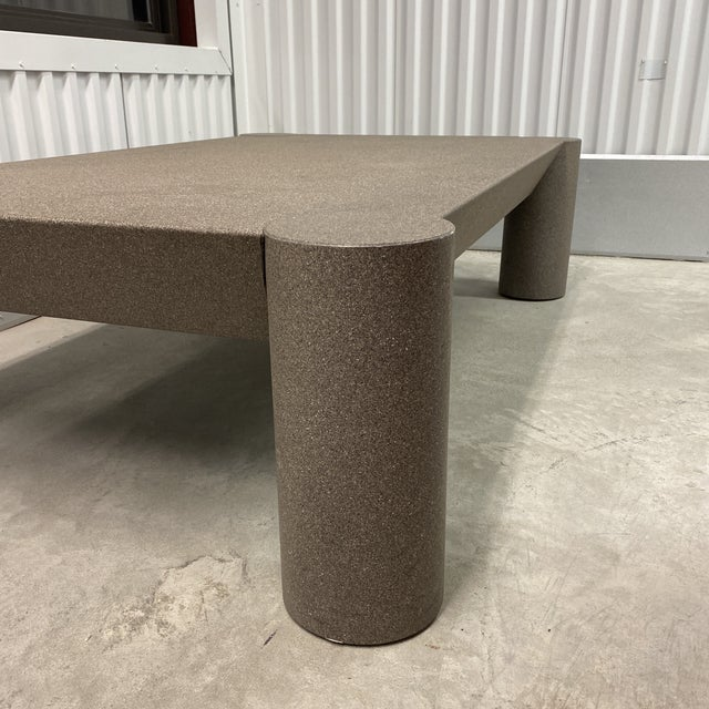 Dark Gray Grey Postmodern Beveled Coffee Table With Thick Column Legs For Sale - Image 8 of 13
