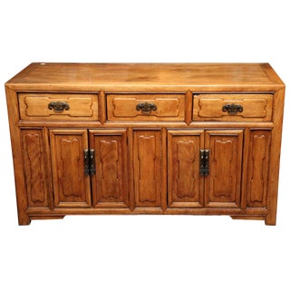 Antique Chinese Raised Elmwood Panel Sideboard from the Early 20th Century For Sale