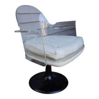 Vladimir Kagan Style Lucite Swivel Chair For Sale