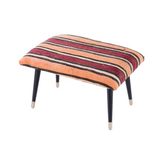 Pasargad Home Bosphorus Collection Red & Orange Stripe Kilim Cover Ottoman For Sale