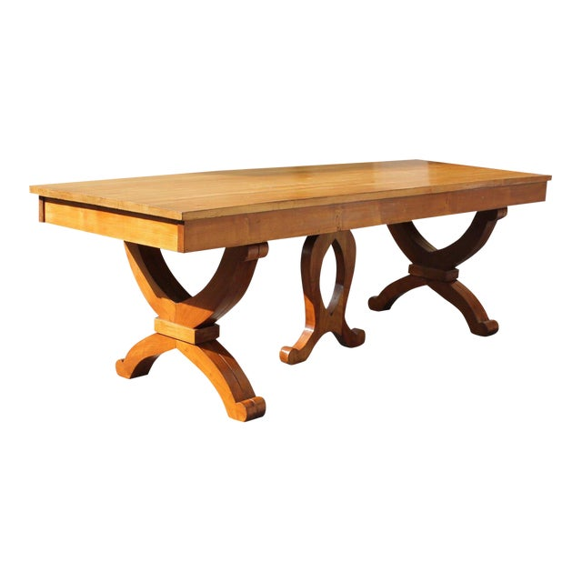 1940s French Country Solid Sycamore Tulip Base Dining Table For Sale