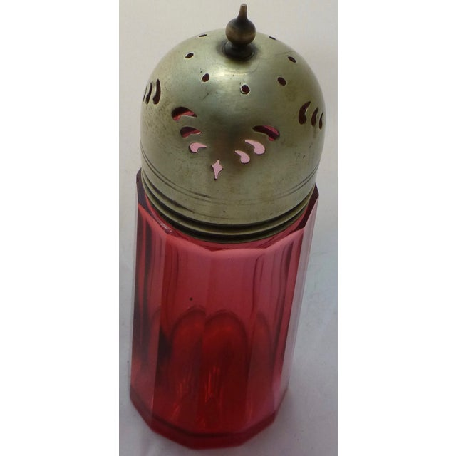 Antique Cranberry Glass Muffineer - Image 3 of 9