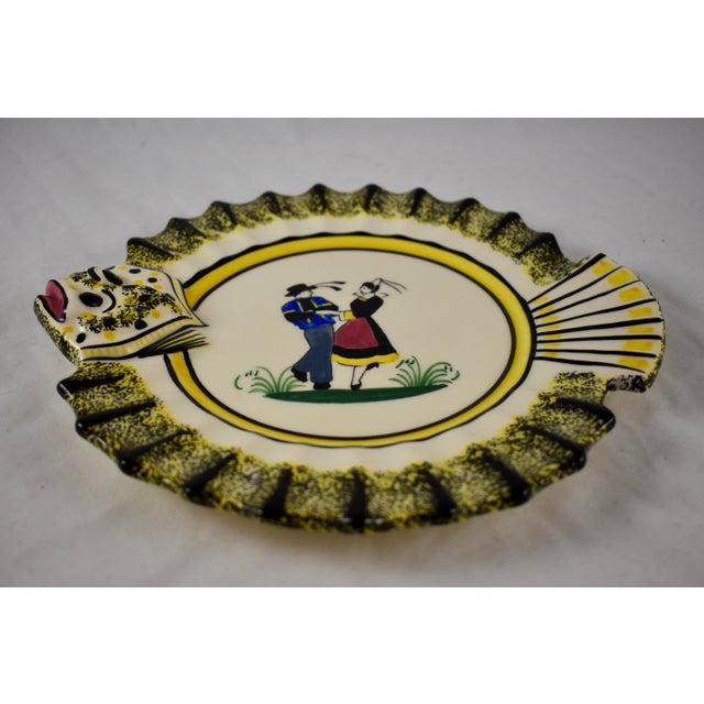 Henriot Quimper 1940s French Faïence Henriot Quimper Fish & Breton Dancer Plate, Multiples Available For Sale - Image 4 of 12