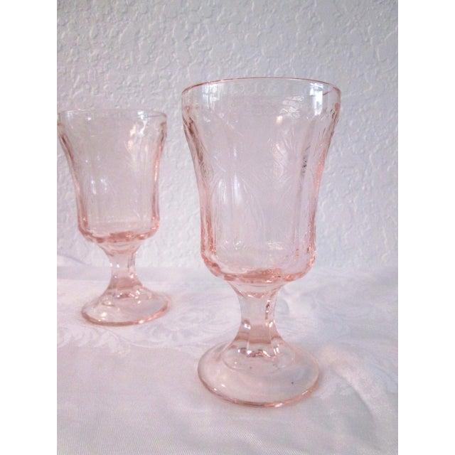 Vintage Blush Pink Madrid Goblets - Set of 5 - Image 4 of 6